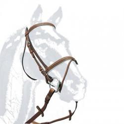 Cabezada montar cuero con riendas de lona Zaldi