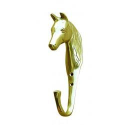 Gancho con cabeza de caballo en relieve de latón